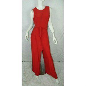 Lauren Ralph Lauren Jumpsuit Red Wide Legs Size 12